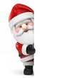 3D Render of Santa Claus holding a board