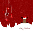 Sitting Reindeer & Hanging Symbols Red