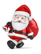 3D Render of Santa Claus carrying bag of gifts