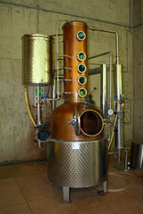 A traditional copper distillery