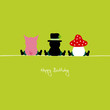 "Sitting Pig, Chimney Sweeper & Fly Agaric ""Happy Birthday"""