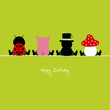 "Ladybug, Pig, Chimney Sweeper & Fly Agaric ""Happy Birthday"""