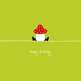 "Sitting Fly Agaric ""Happy Birthday"""