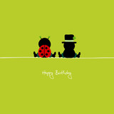 "Sitting Ladybug & Chimney Sweeper ""Happy Birthday"""