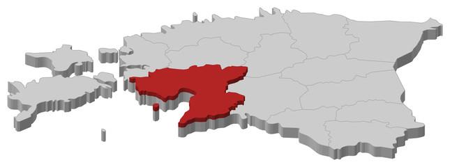 Map of Estonia, Pärnu highlighted