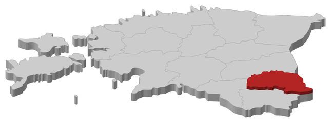 Map of Estonia, Põlva highlighted
