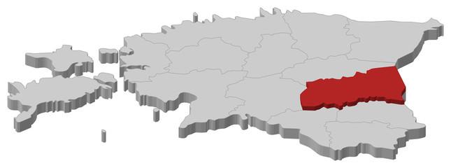 Map of Estonia, Tartu highlighted