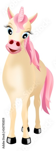 Poster Pony unicorn with pink mane and tail