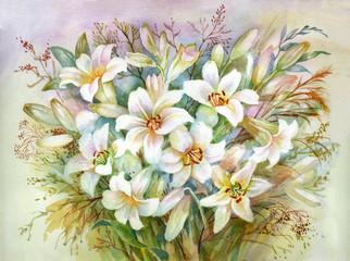 Watercolor Flower Collection: Lilies Bouquet