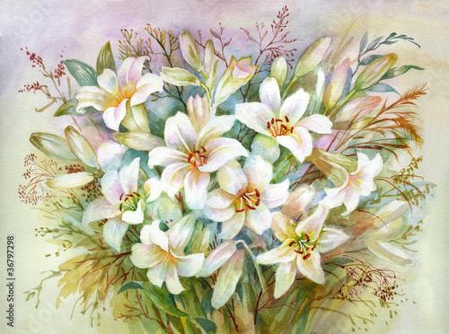 Kolekcja Flower akwarela: Bukiet Lilie