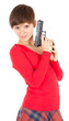 beautiful young woman with gun, white background