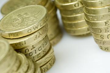 stacks of uk pound coins