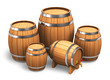 Set of wooden wine barrels