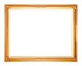 Golden frame isolated on white background poster
