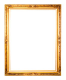 Isolated golden wood Photo Frame on white background poster