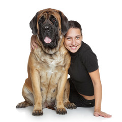 Beautiful woman and English Mastiff dog