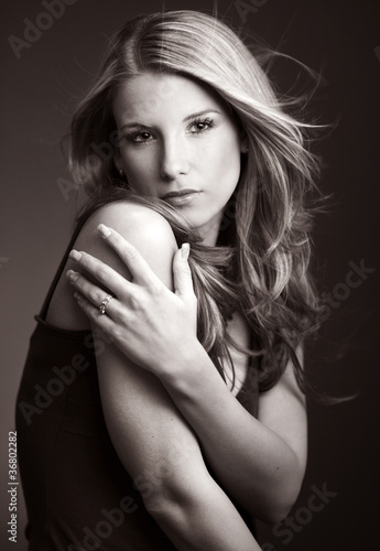 Portrait of beautiful woman-  BW