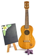 blackboard and vintage ukulele