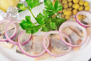 Herring with pea
