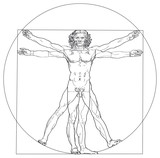 Vitruvian Man, Leonardo da Vinci. The Vitruvian Man, based on the records of Leonardo da Vinci and the architect Vitruvius. Illustration on white background. Vector.
