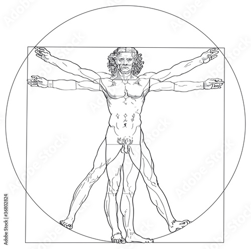 Vitruvian Man, Leonardo da Vinci. The Vitruvian Man, based on the records of Leonardo da Vinci and the architect Vitruvius. Illustration on white background. Vector. - 36802824