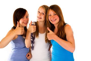 27.7.2011 drei Mädchen daumen hoch