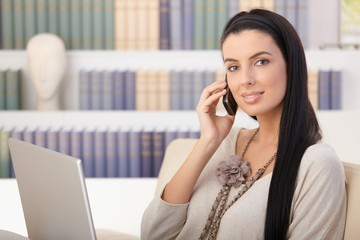 Portrait of woman on mobile call