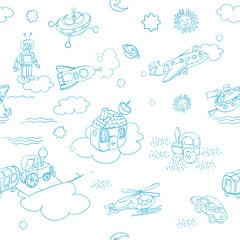 toys doodles blue patern