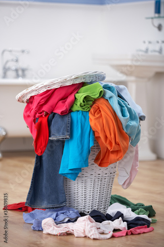 Pile of dirty washing in bathroom
