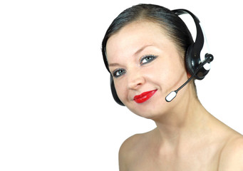 girl with headphones posing