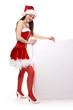 Weihnachtsfrau an Tafel
