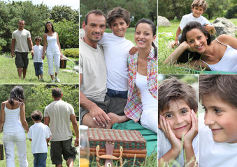 Collage of a family having a picnic