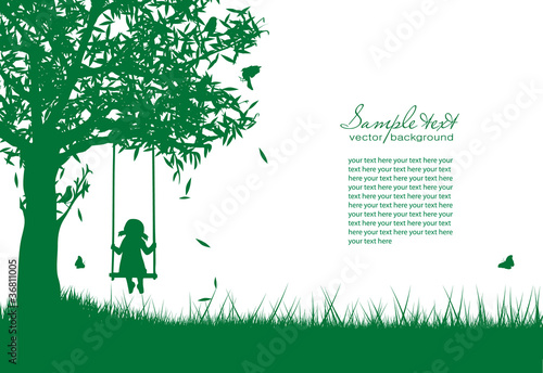 Vector silhouette of girl on swing