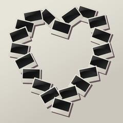 Vector heart shape of empty photos