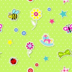 Vector seamless background with baby elements