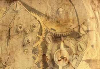 old grunge paper clockwork mechanism