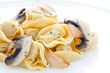 Tortellini dish with mushrooms and garlic sauteed