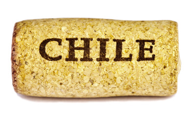 Chile wine cork on white background