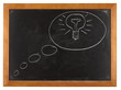 Bulb in think bubble on blackboard