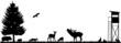 Wald Wiese Feld Hochsitz Silhouette Landschaft Tiere - 36816615