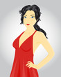 Fashion woman in red dress, vector