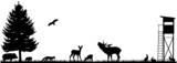 Wald Wiese Feld Hochsitz Silhouette Landschaft Tiere