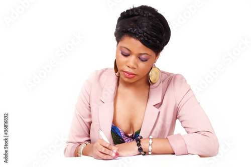 Woman filling form or signing contract