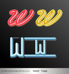 ai Vector image: initials (w) neon logo