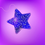 Postcard with a twinkling purple star. EPS 8 poster