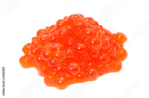 Red Salmon Caviar Isolated on White Background