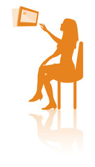 tablet woman interacting silhouette