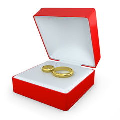 Pair of wedding rings in a box