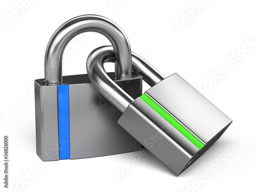 Two linked padlocks - partnership concept
