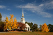 rural church in autumn colors